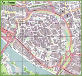 Arnhem city center map