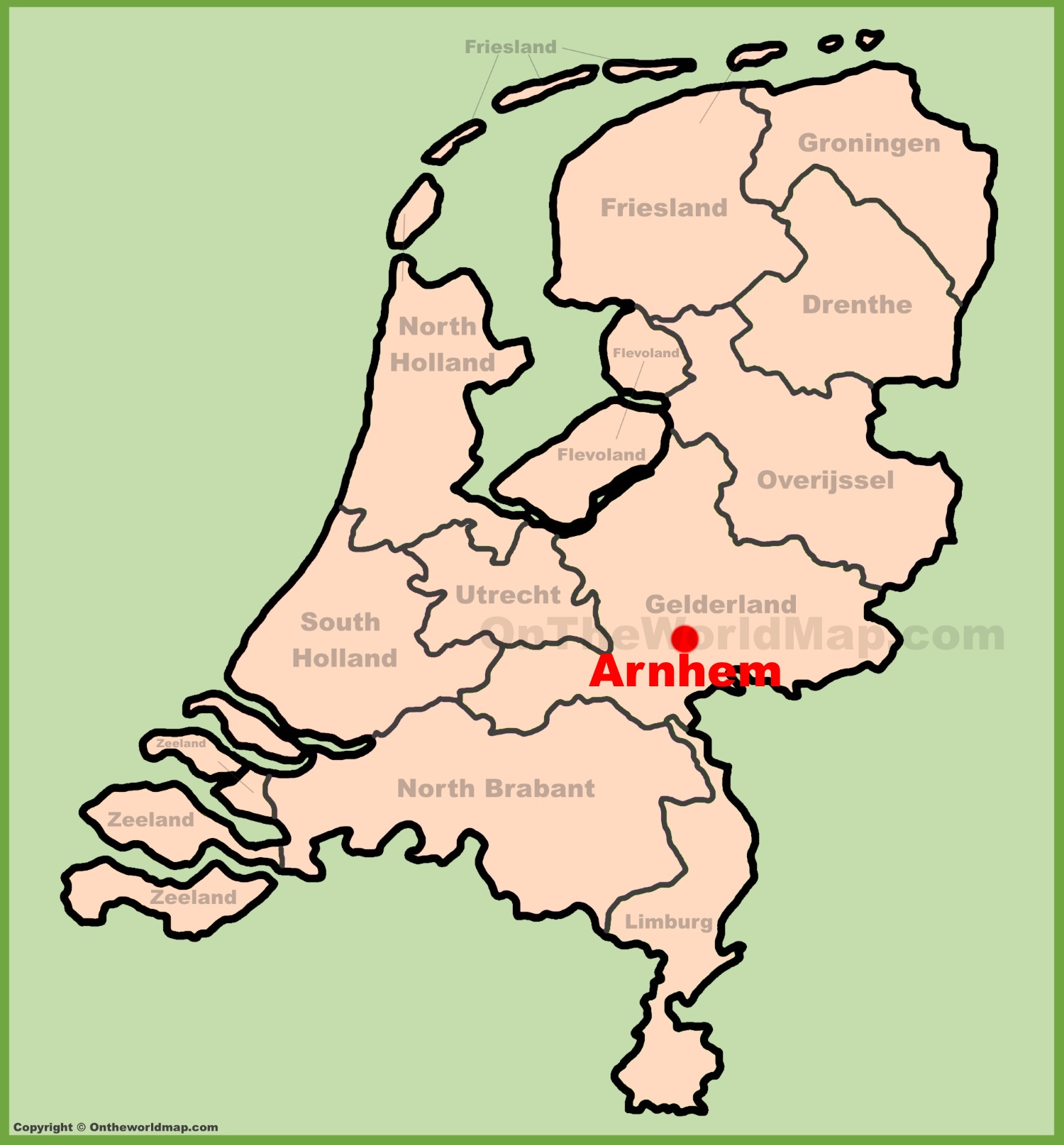 Arnhem location on the Netherlands map