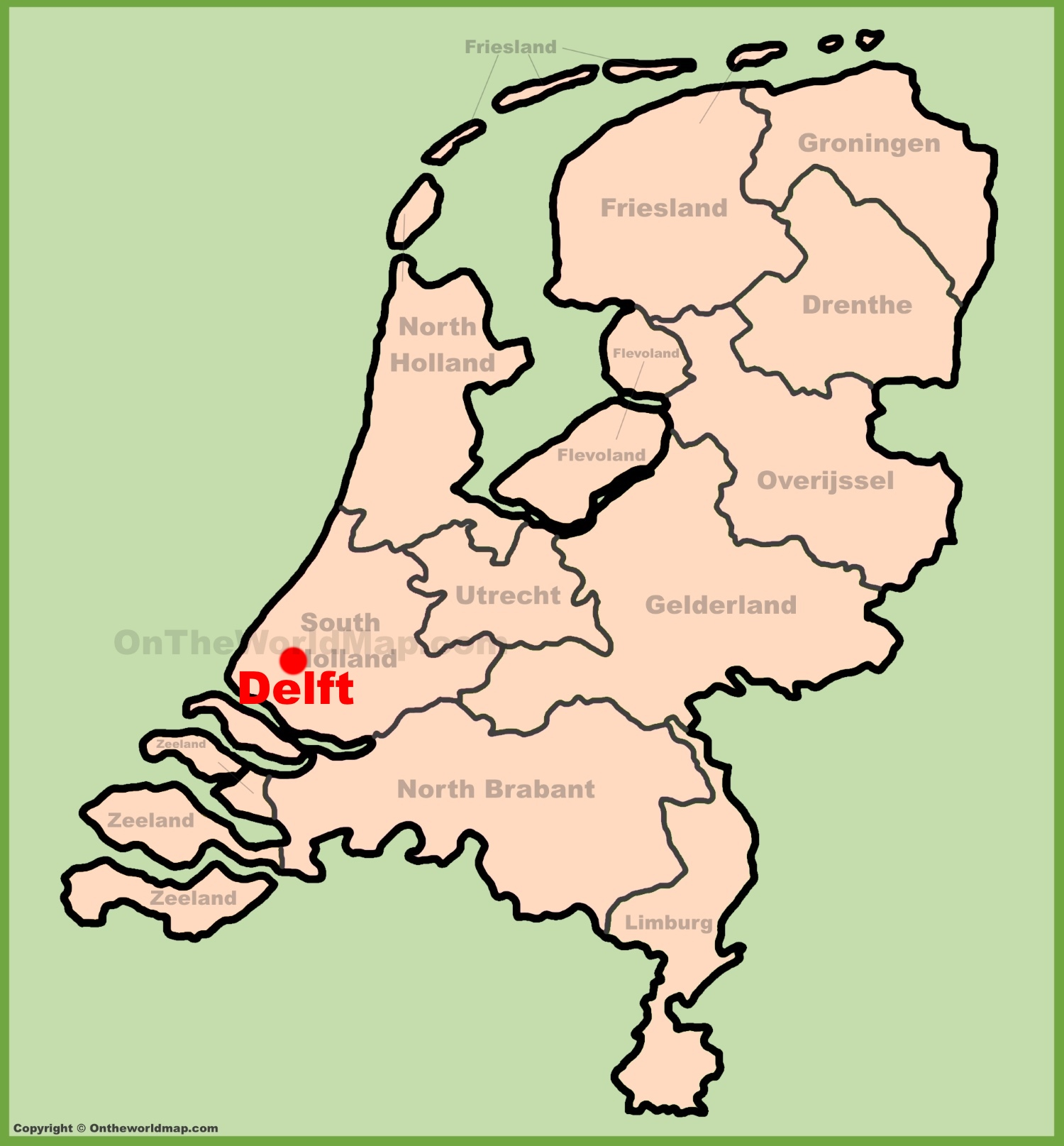 Delft location on the Netherlands map