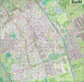 Large detailed map of Delft