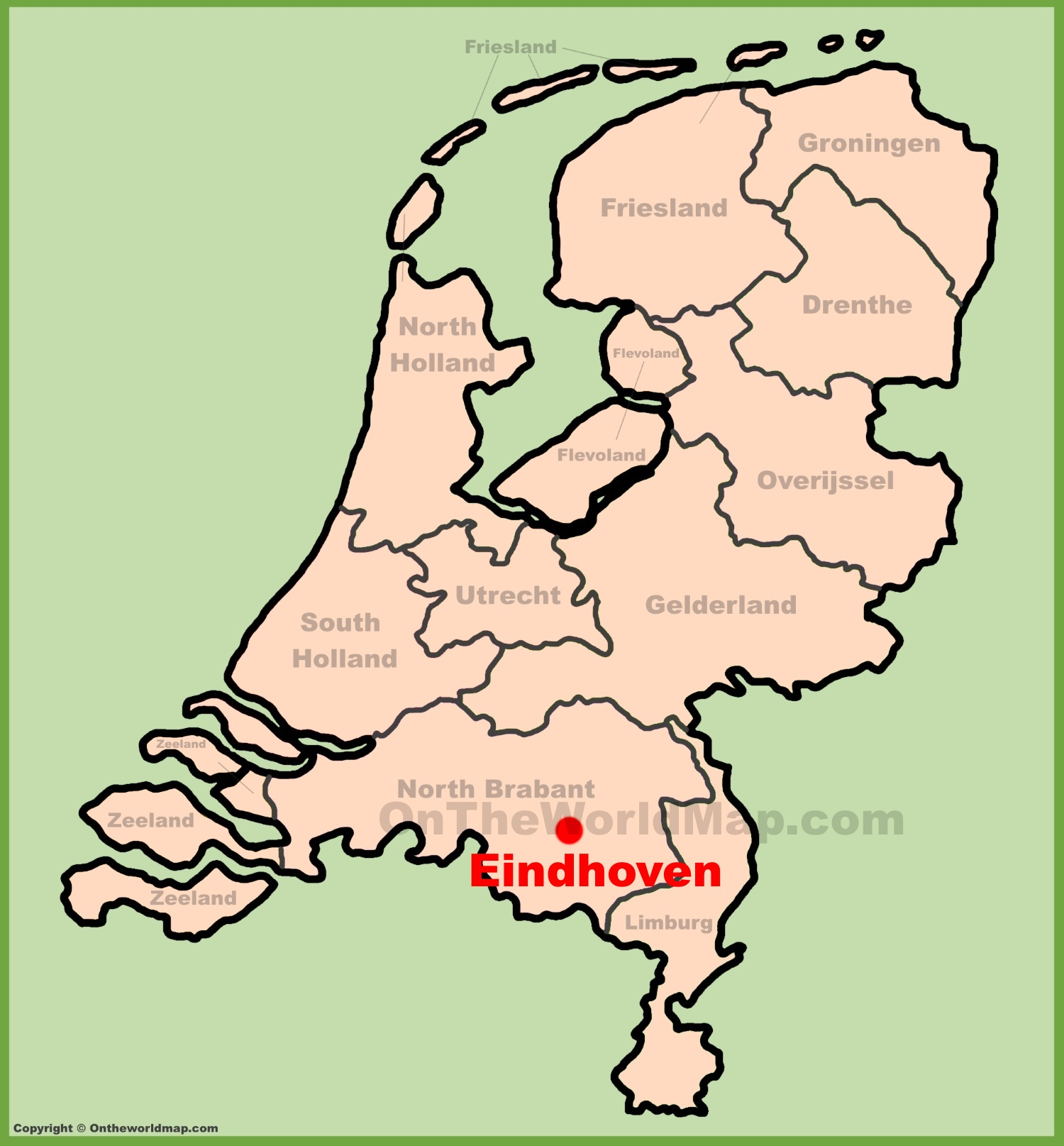 Eindhoven, Netherlands Map. (Black on white)\