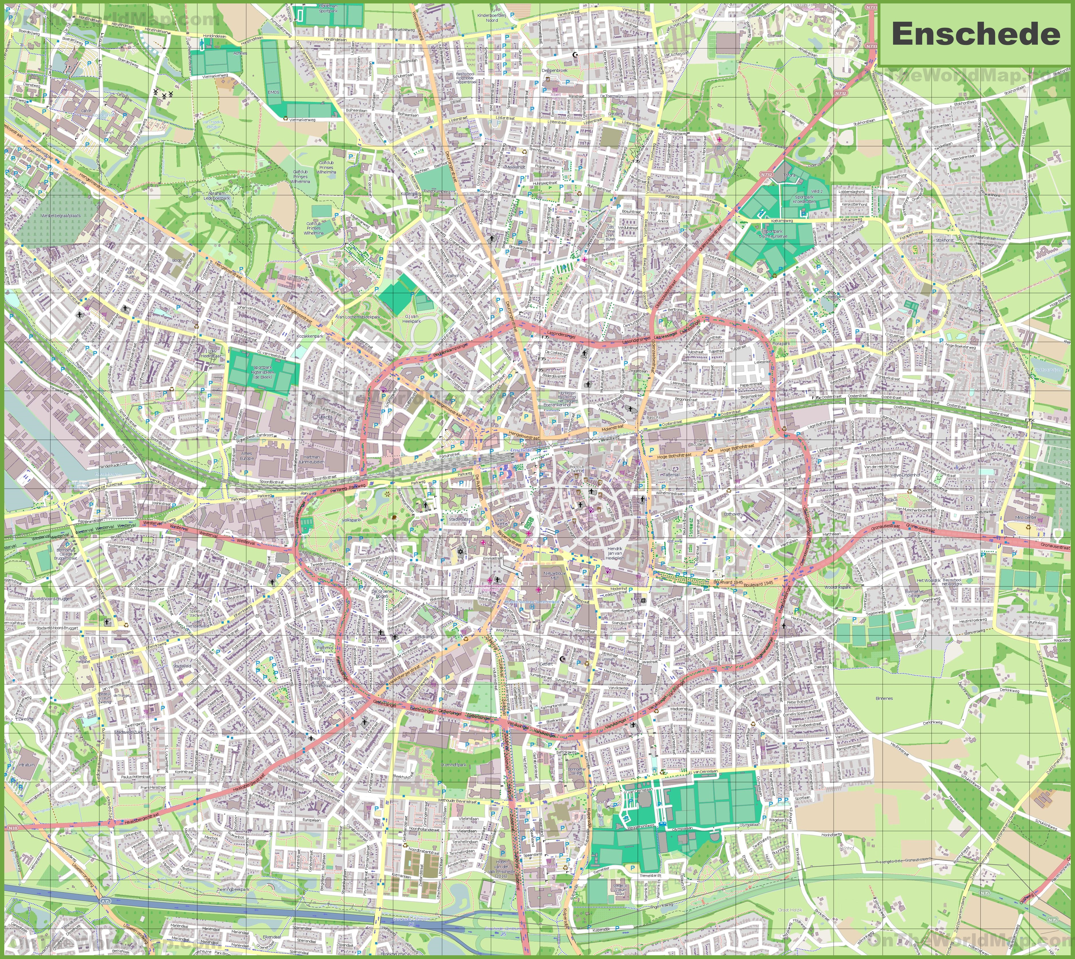 Large detailed map of Enschede