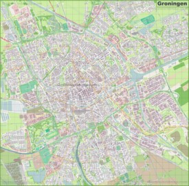 Large detailed map of Groningen