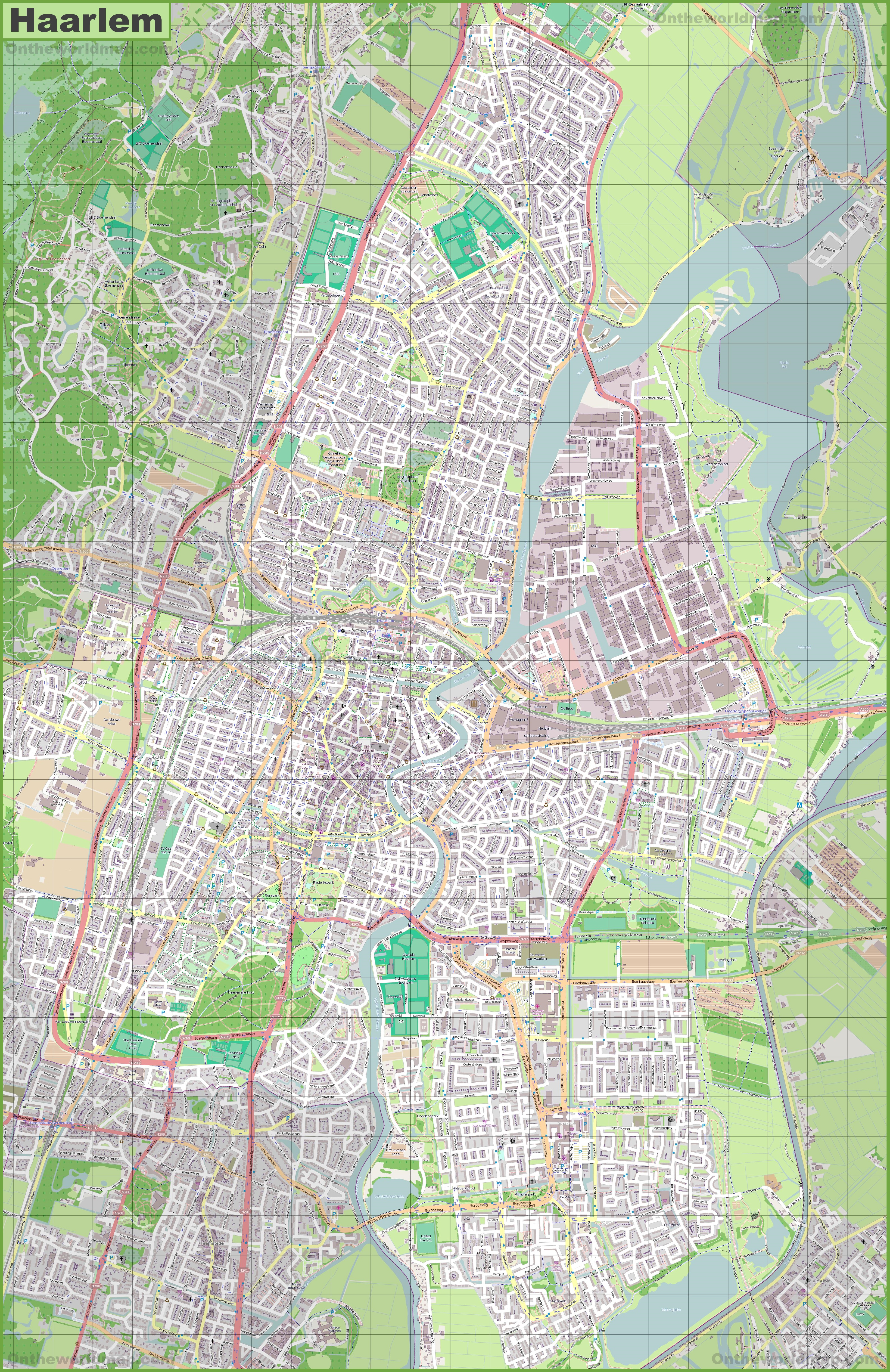 Large detailed map of Haarlem