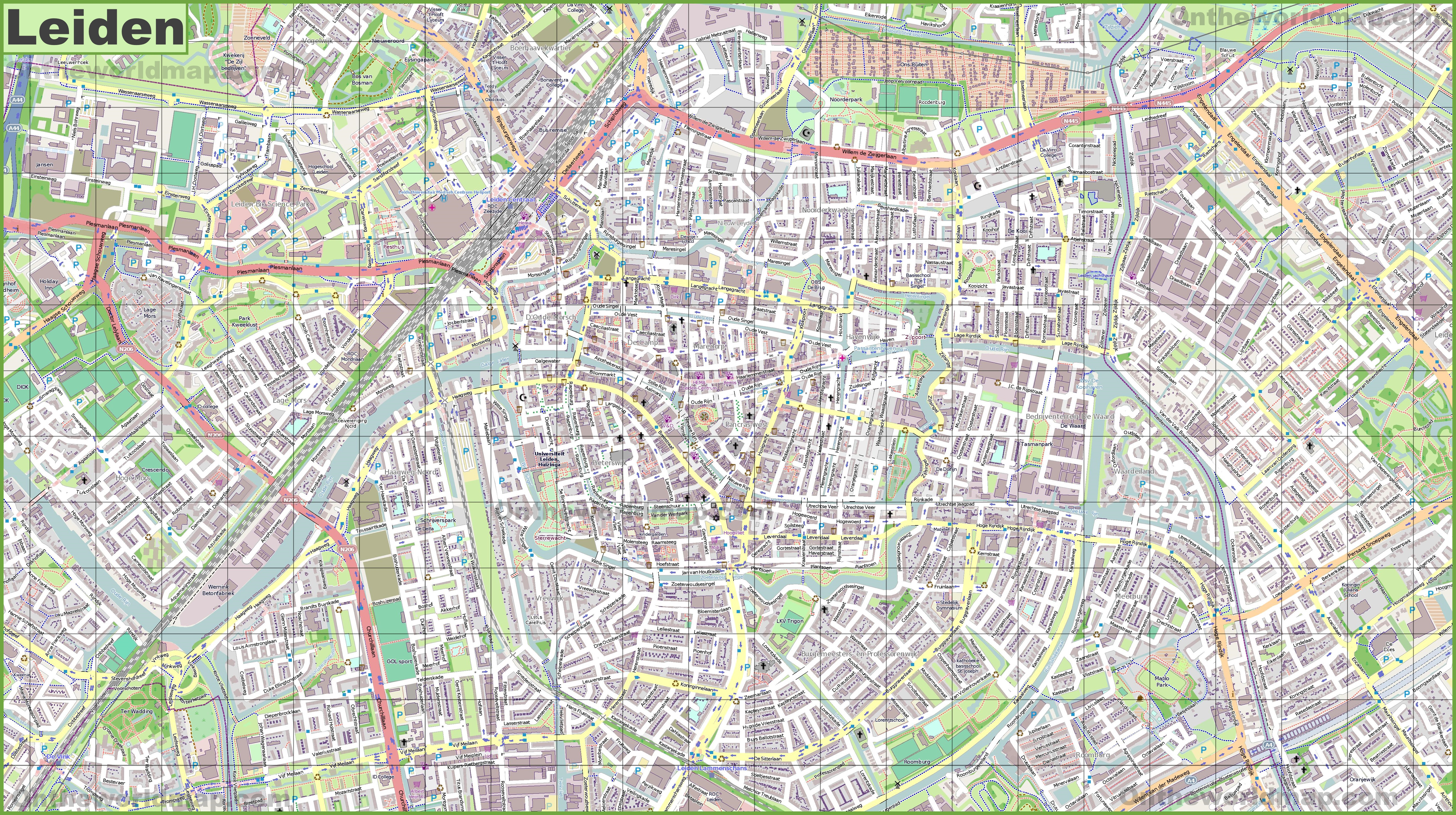Large detailed map of Leiden