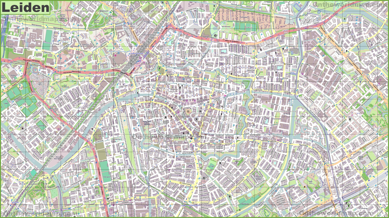 Large detailed map of Leiden