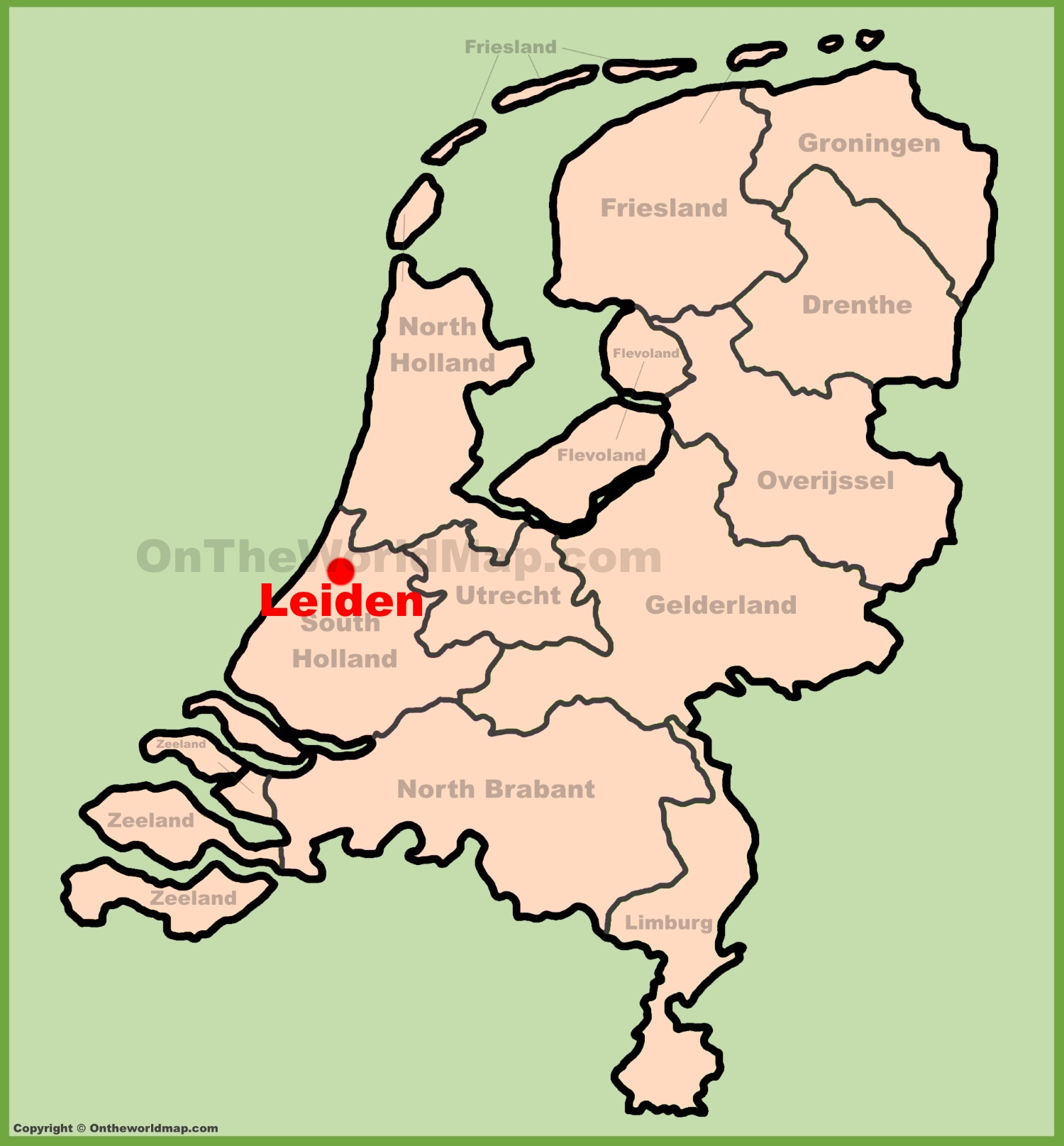 Leiden location on the Netherlands map