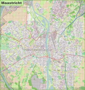 Large detailed map of Maastricht