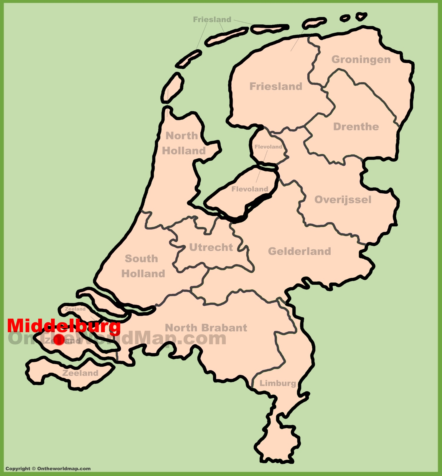Middelburg location on the Netherlands map