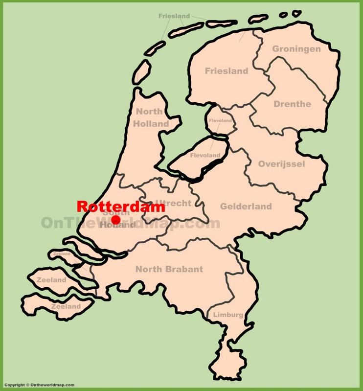 Rotterdam location on the Netherlands map