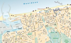 Large detailed tourist map of Scheveningen