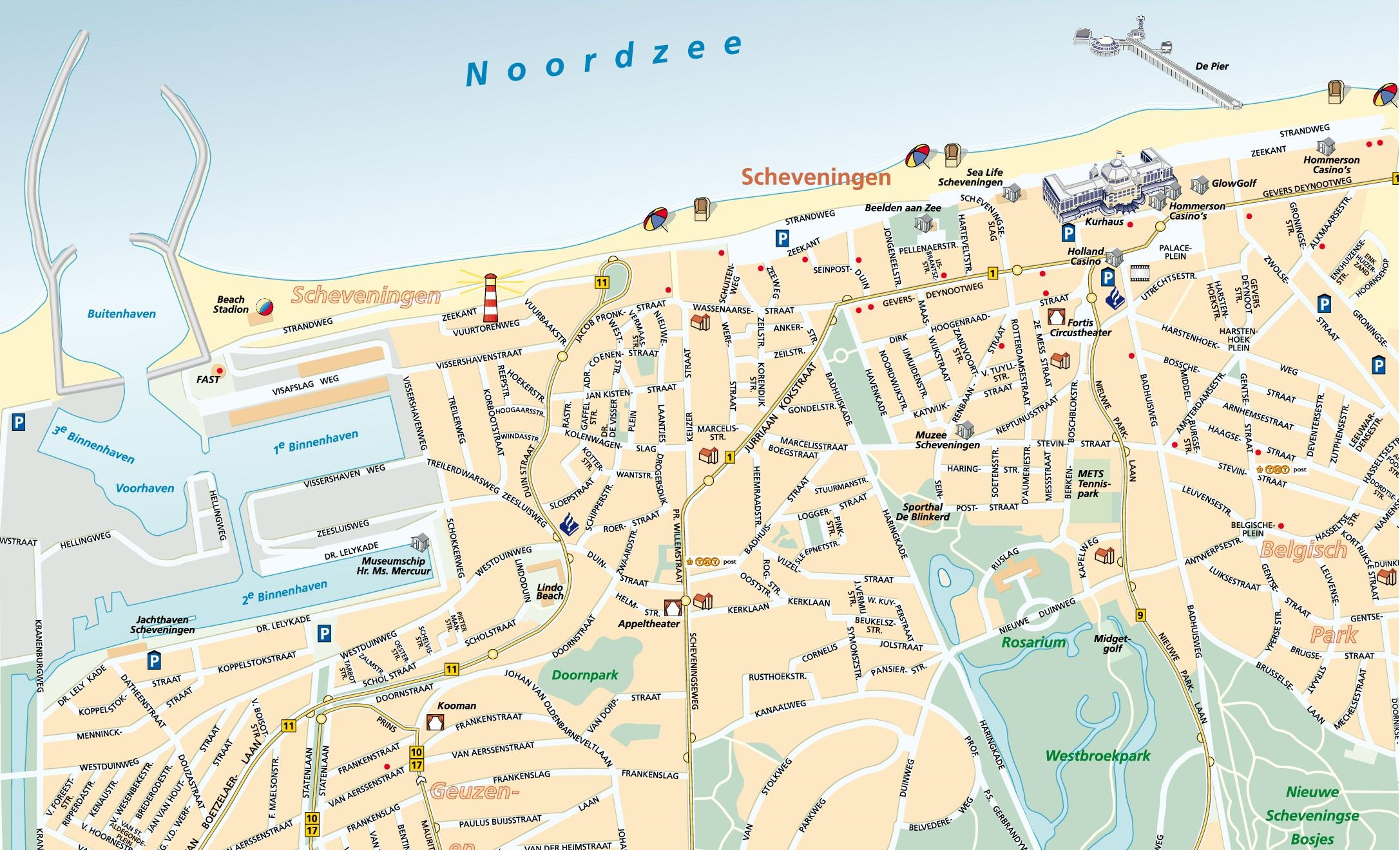 Large detailed tourist map of Scheveningen – The Hague Tourist Map