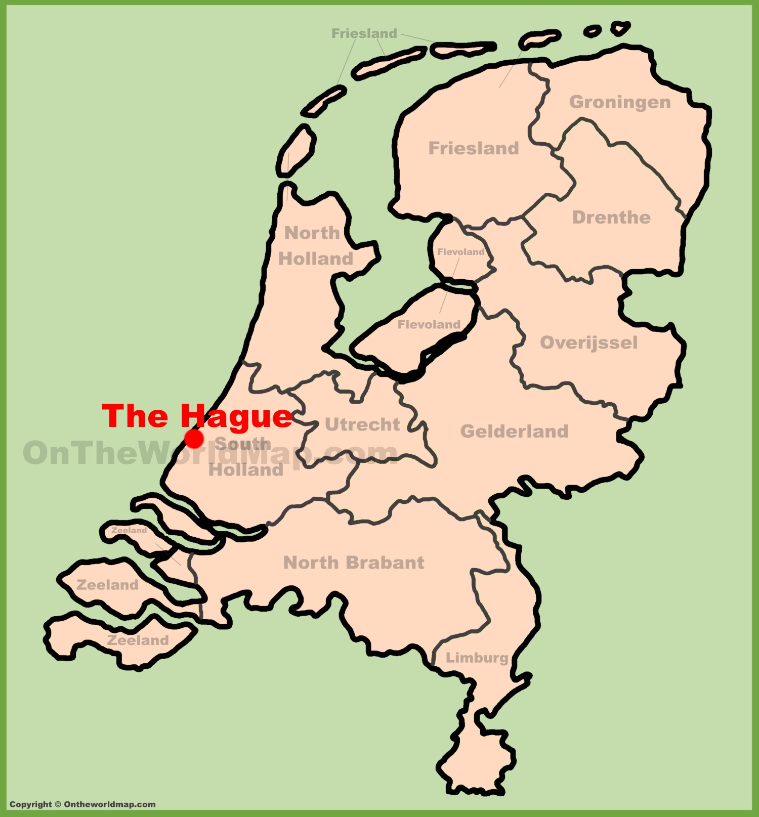 The Hague location on the Netherlands map