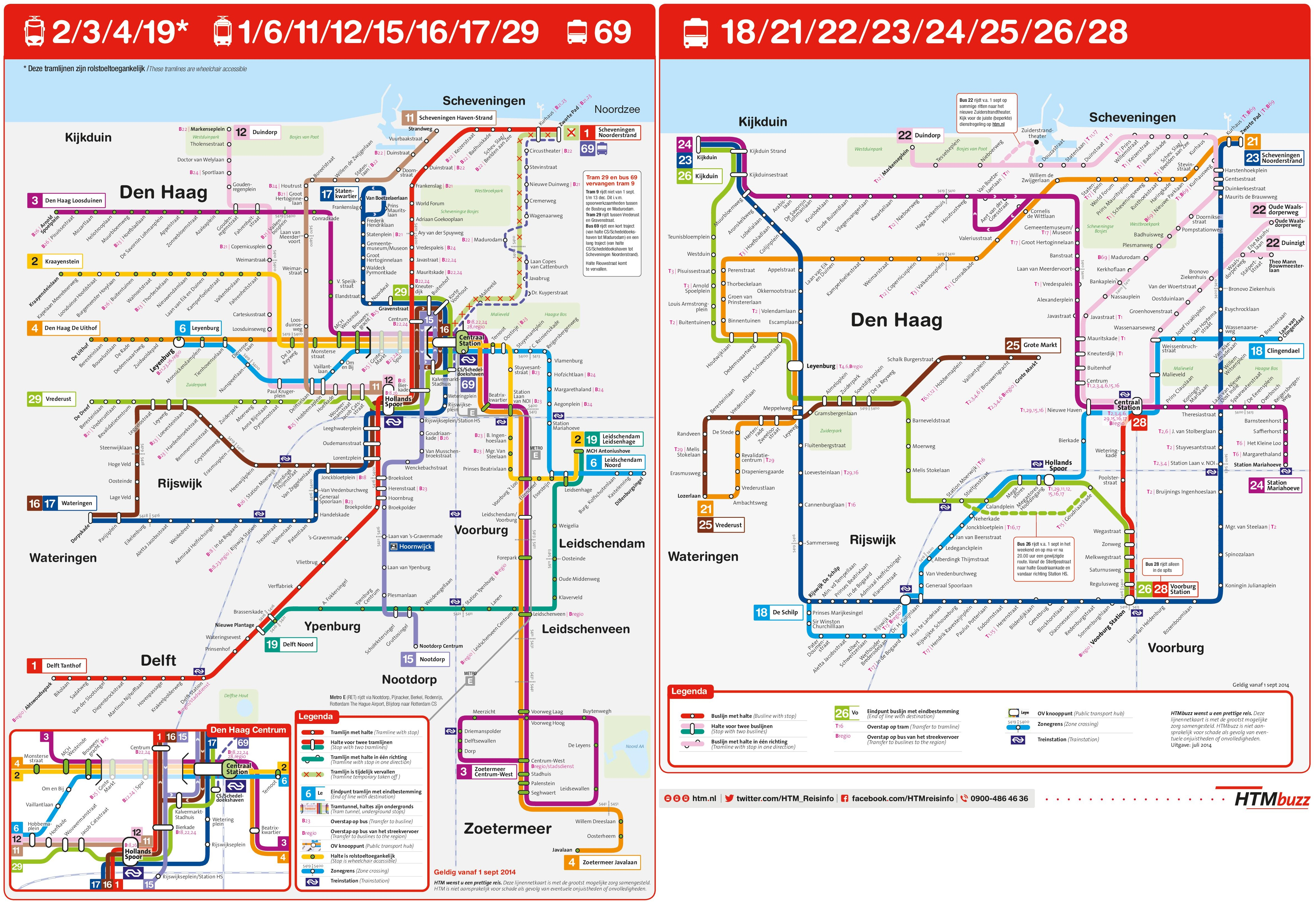The Hague tram and bus map