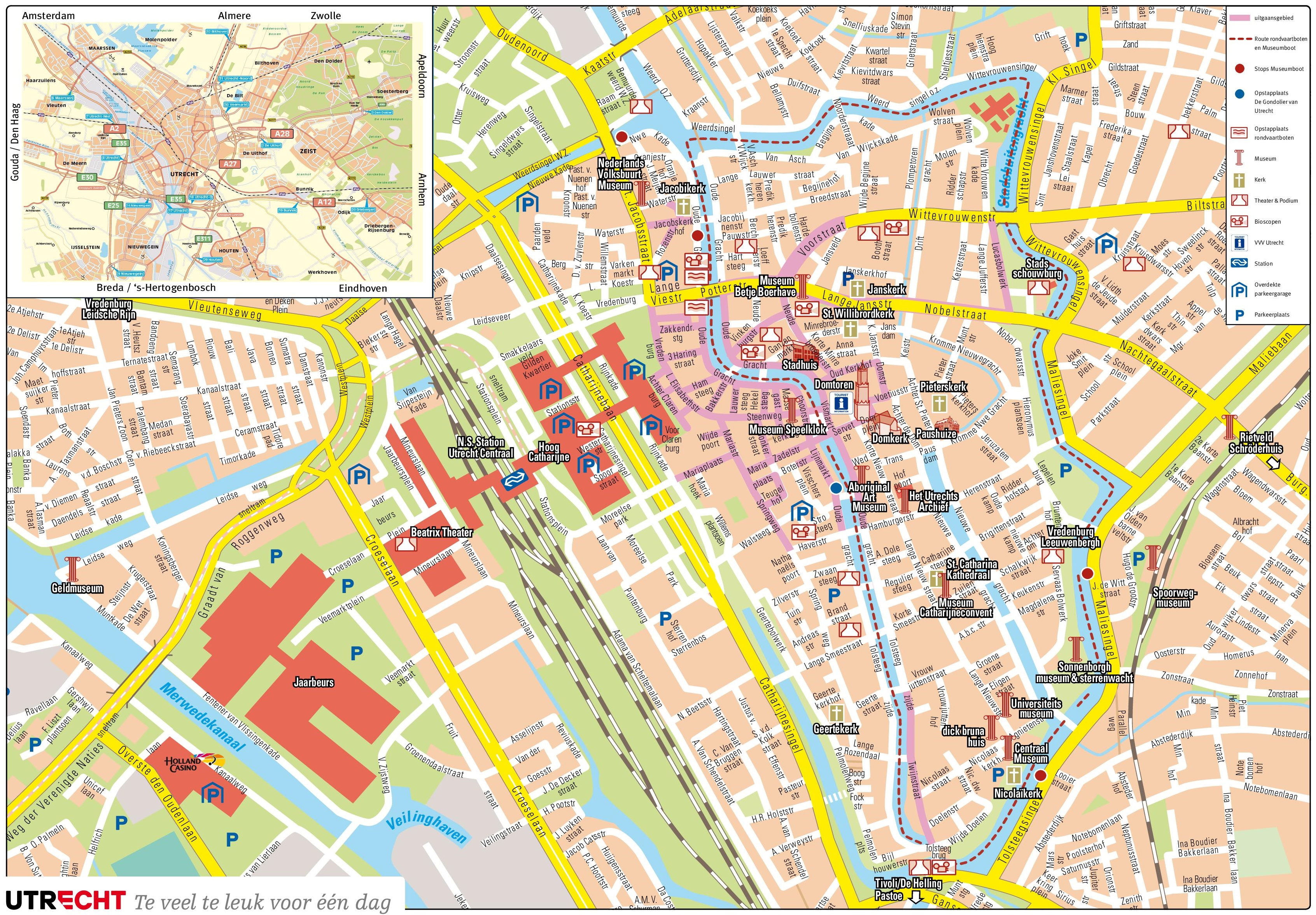 Large detailed tourist map of Utrecht – The Hague Tourist Map