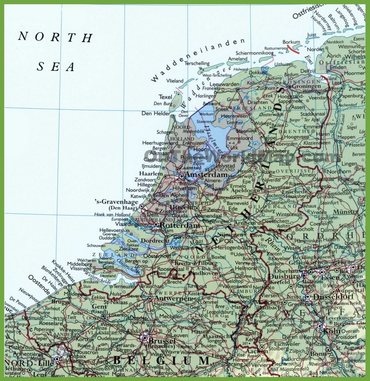Detailed map of Netherlands with cities and towns