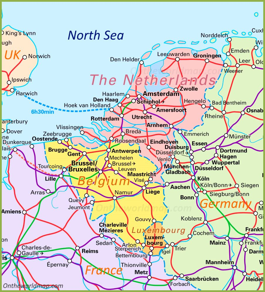 Map Of Netherlands Belgium And Luxembourg Benelux