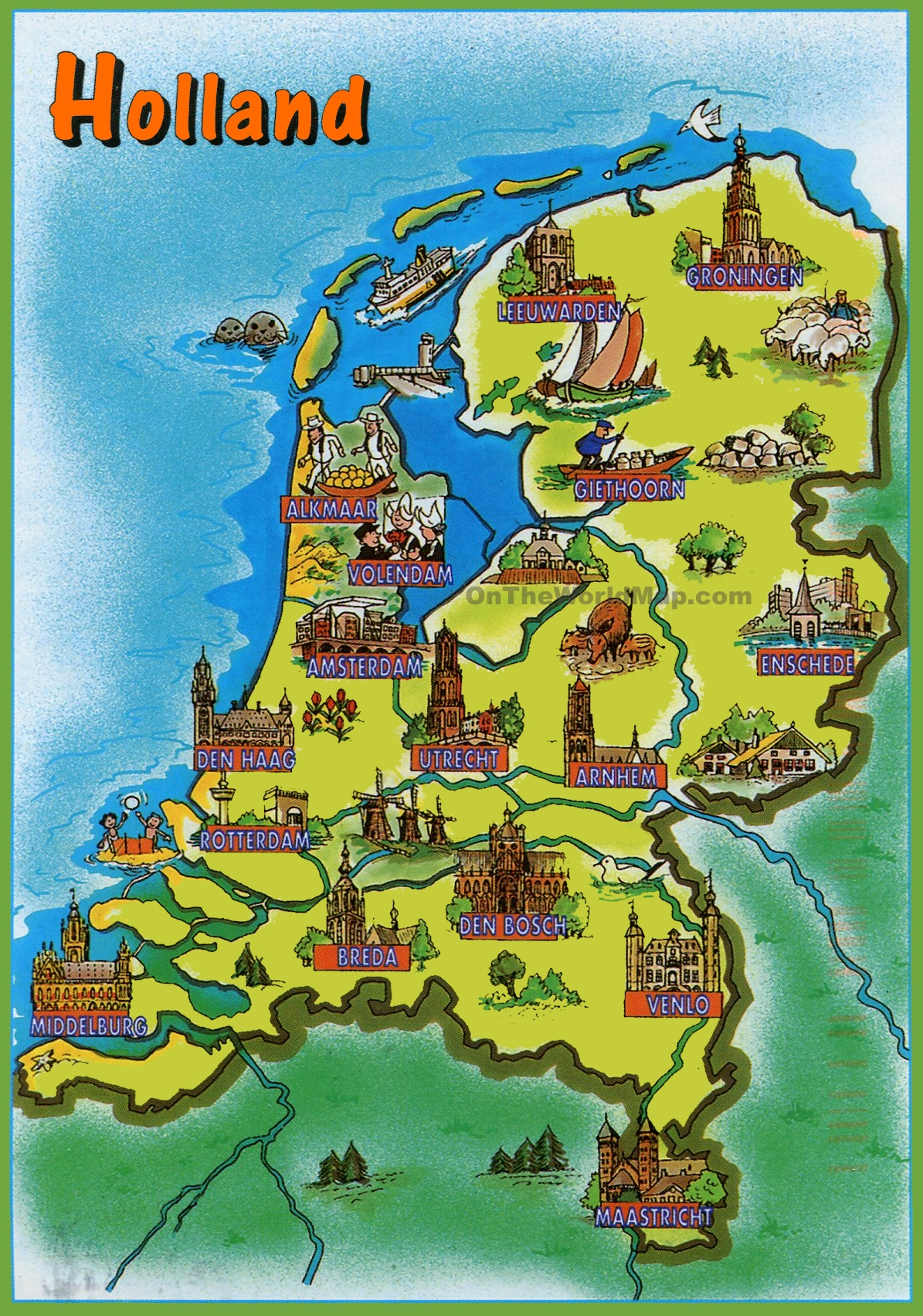 Pictorial travel map of Netherlands