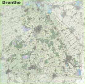 Large detailed topographic map of Drenthe