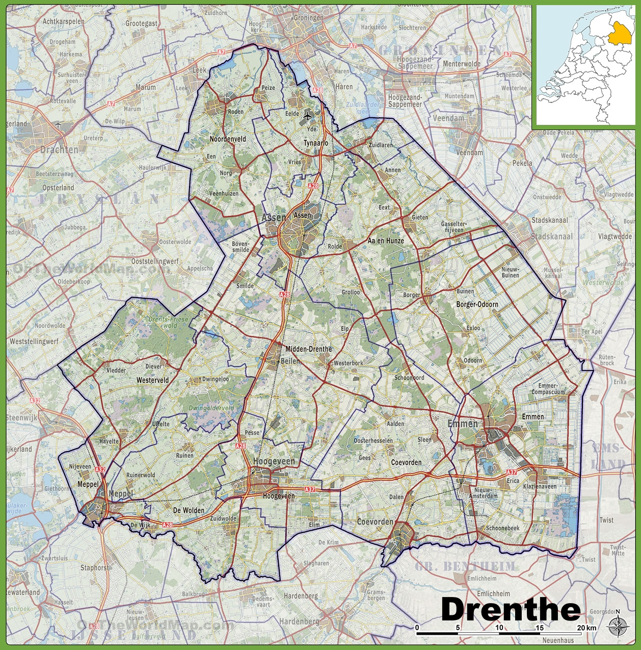 Map of Drenthe with cities and towns