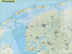 Large detailed topographic map of Friesland