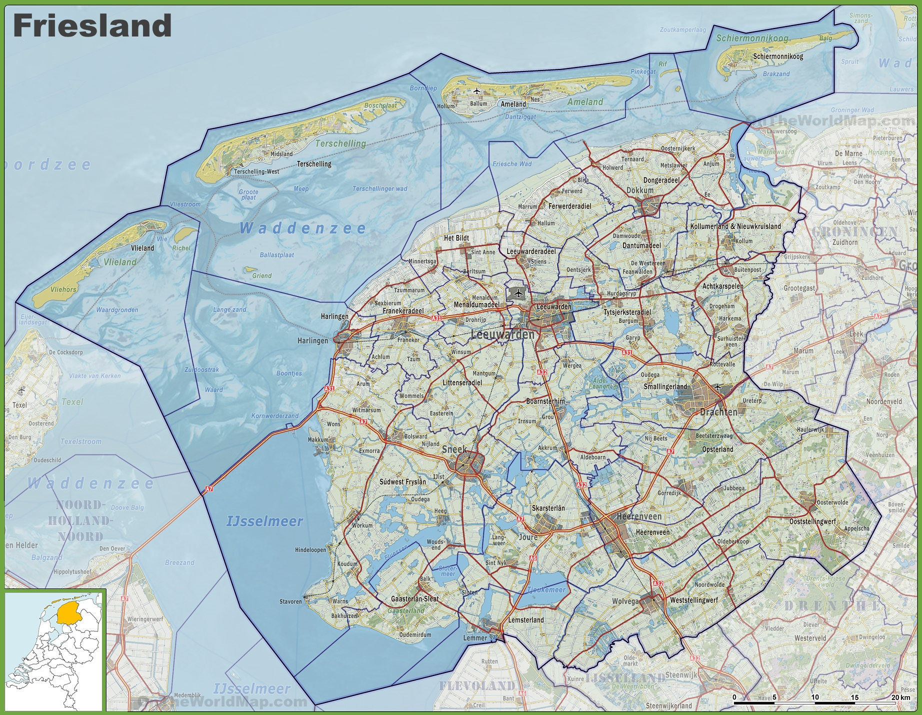 Map of Friesland with cities and towns