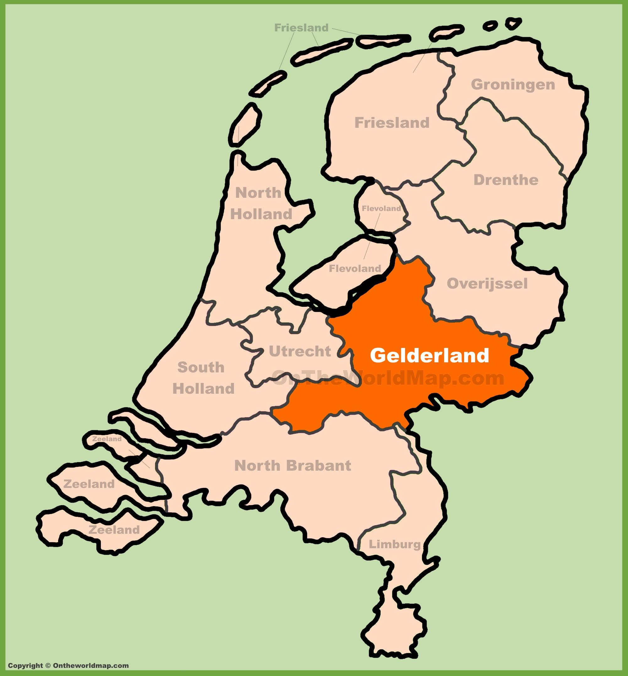Gelderland location on the Netherlands map