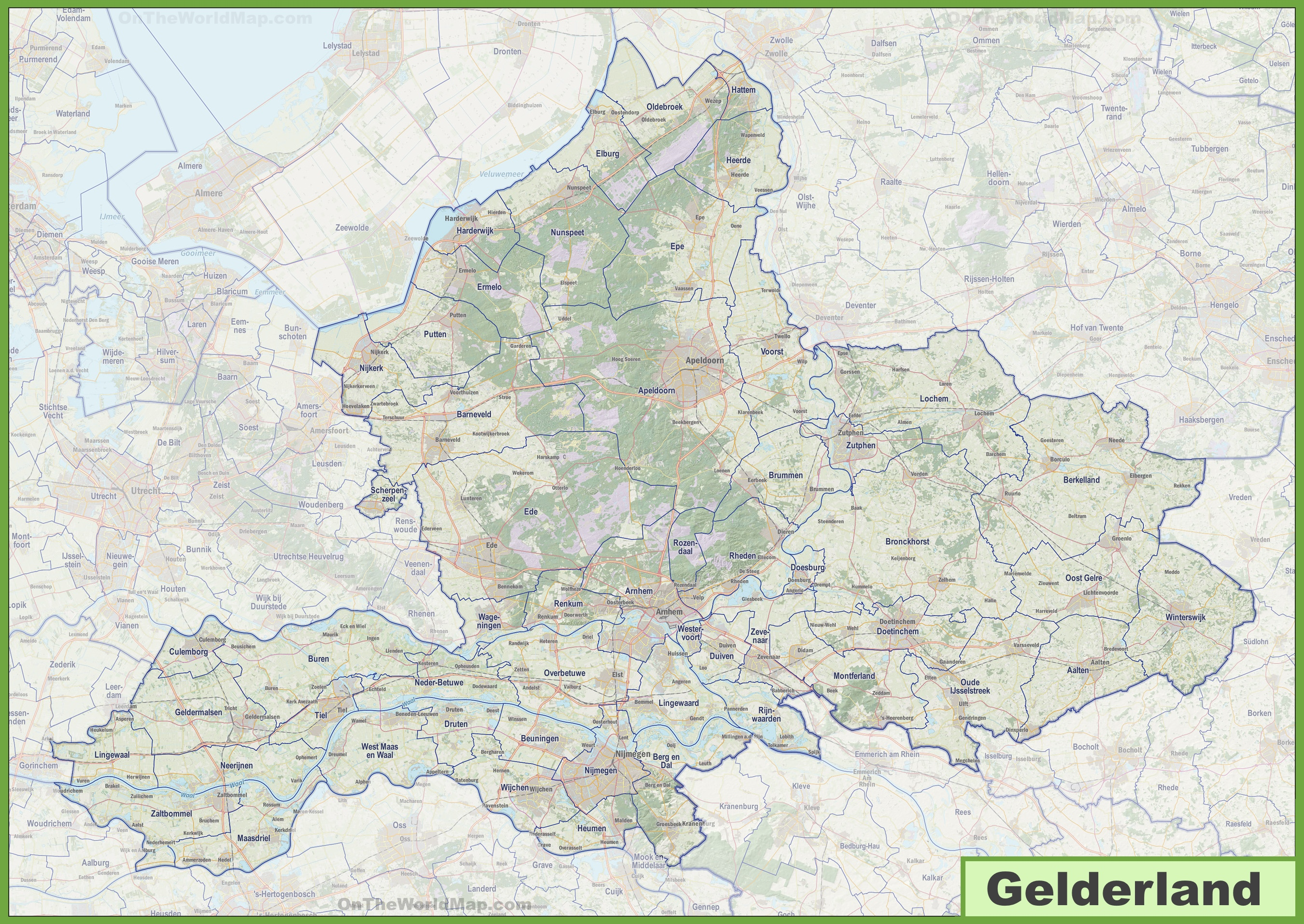 Map of Gelderland with cities and towns