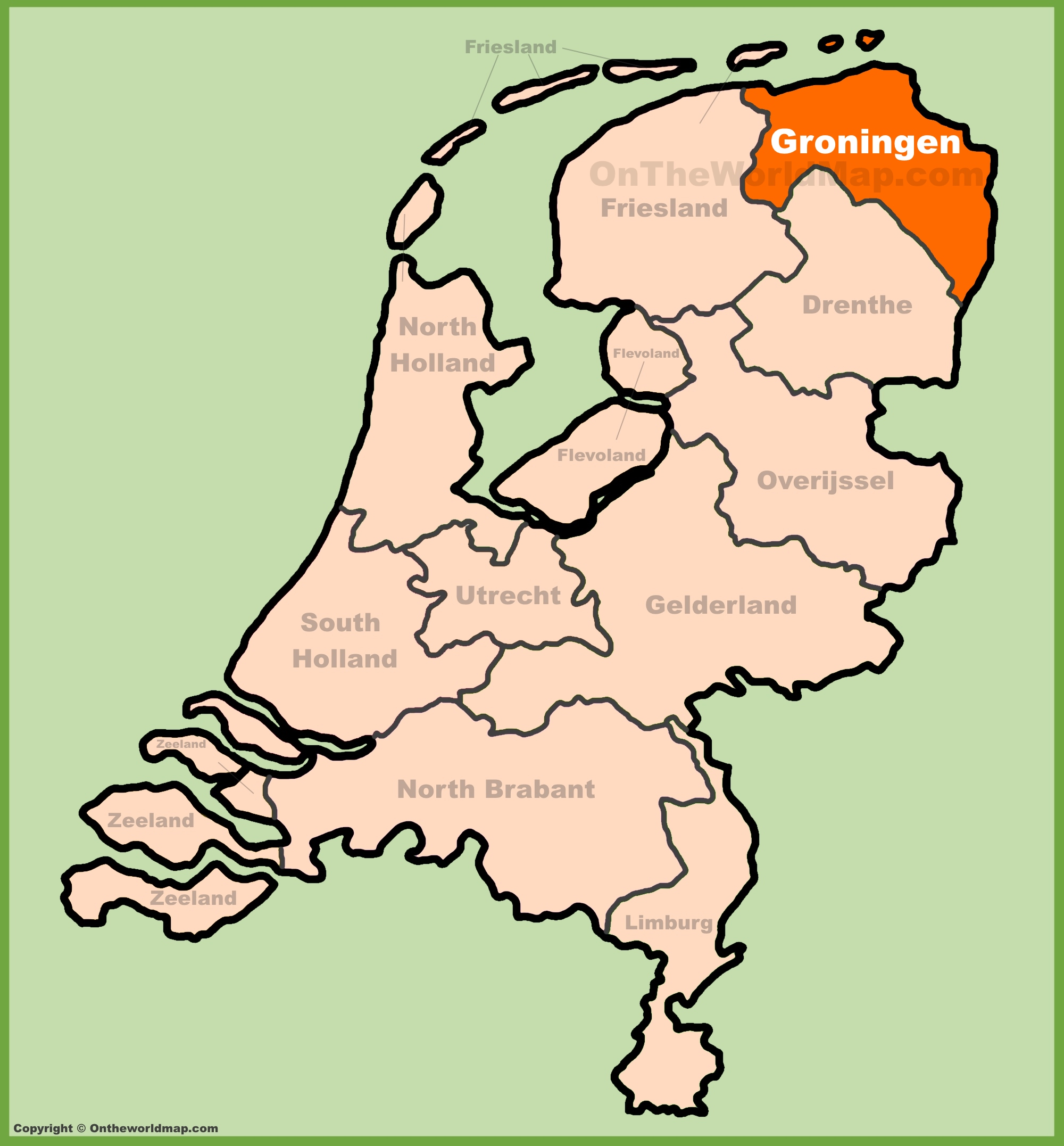 Groningen (province) location on the Netherlands map