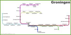Groningen province railway map
