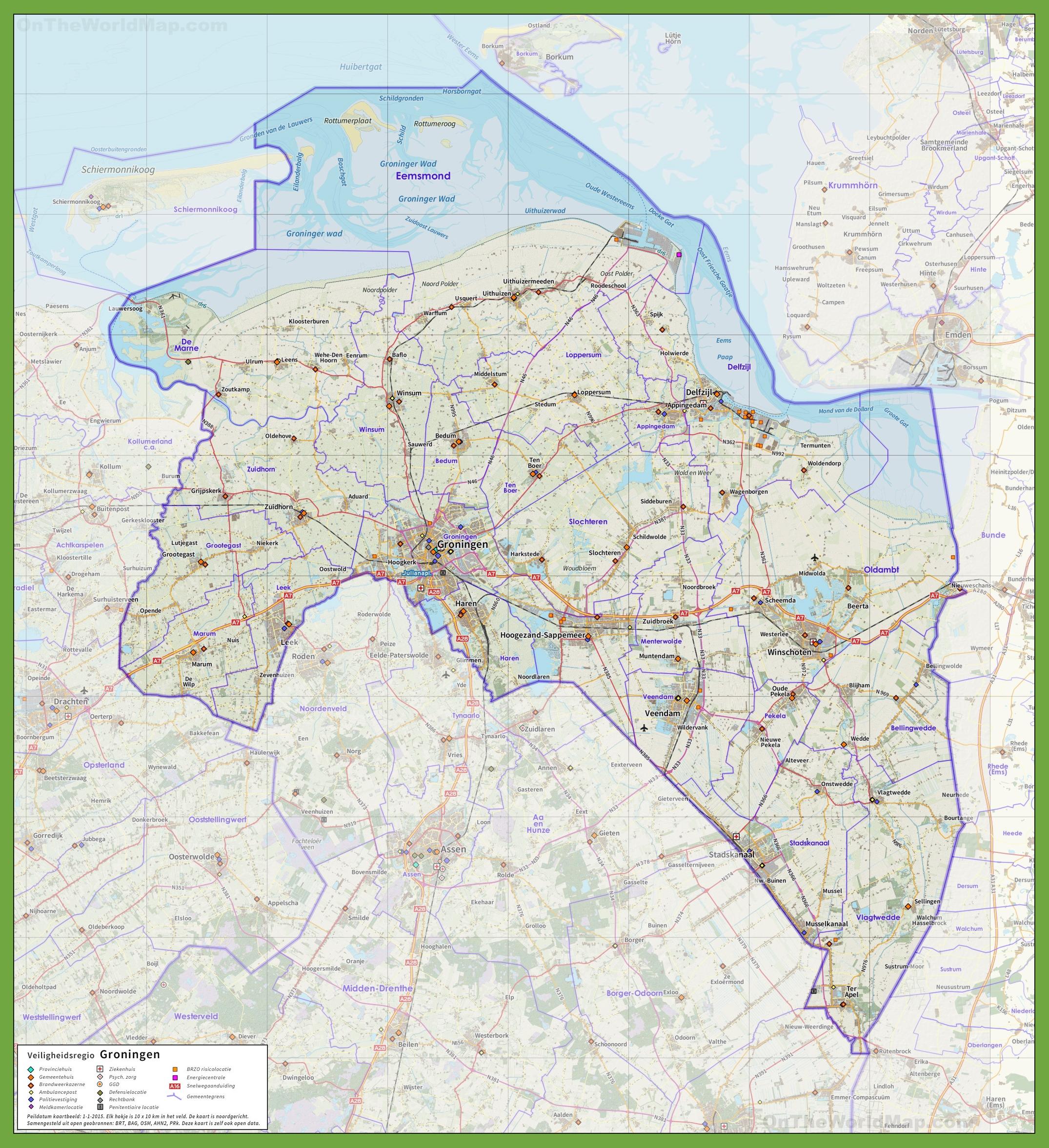 Groningen province Maps Netherlands Maps of Groningen province