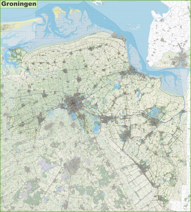 Large detailed topographic map of Groningen province