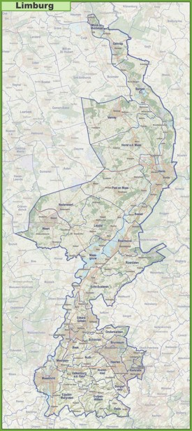 Map of Limburg with cities and towns