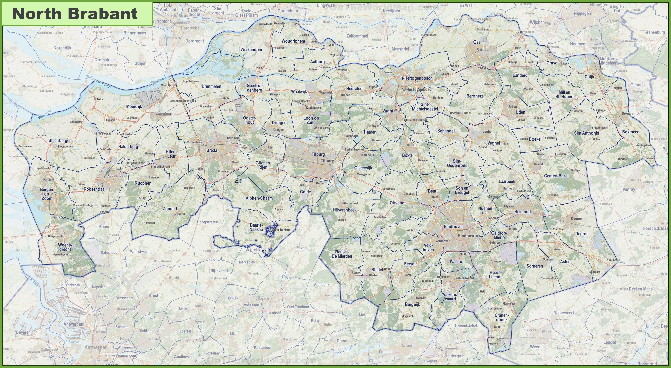 Map of North Brabant with cities and towns