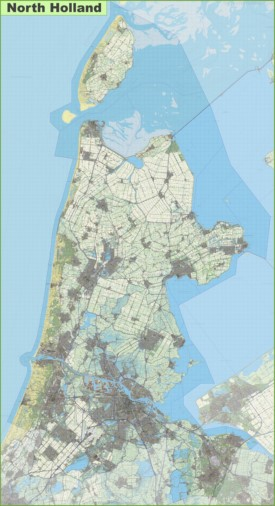 Large detailed topographic map of North Holland