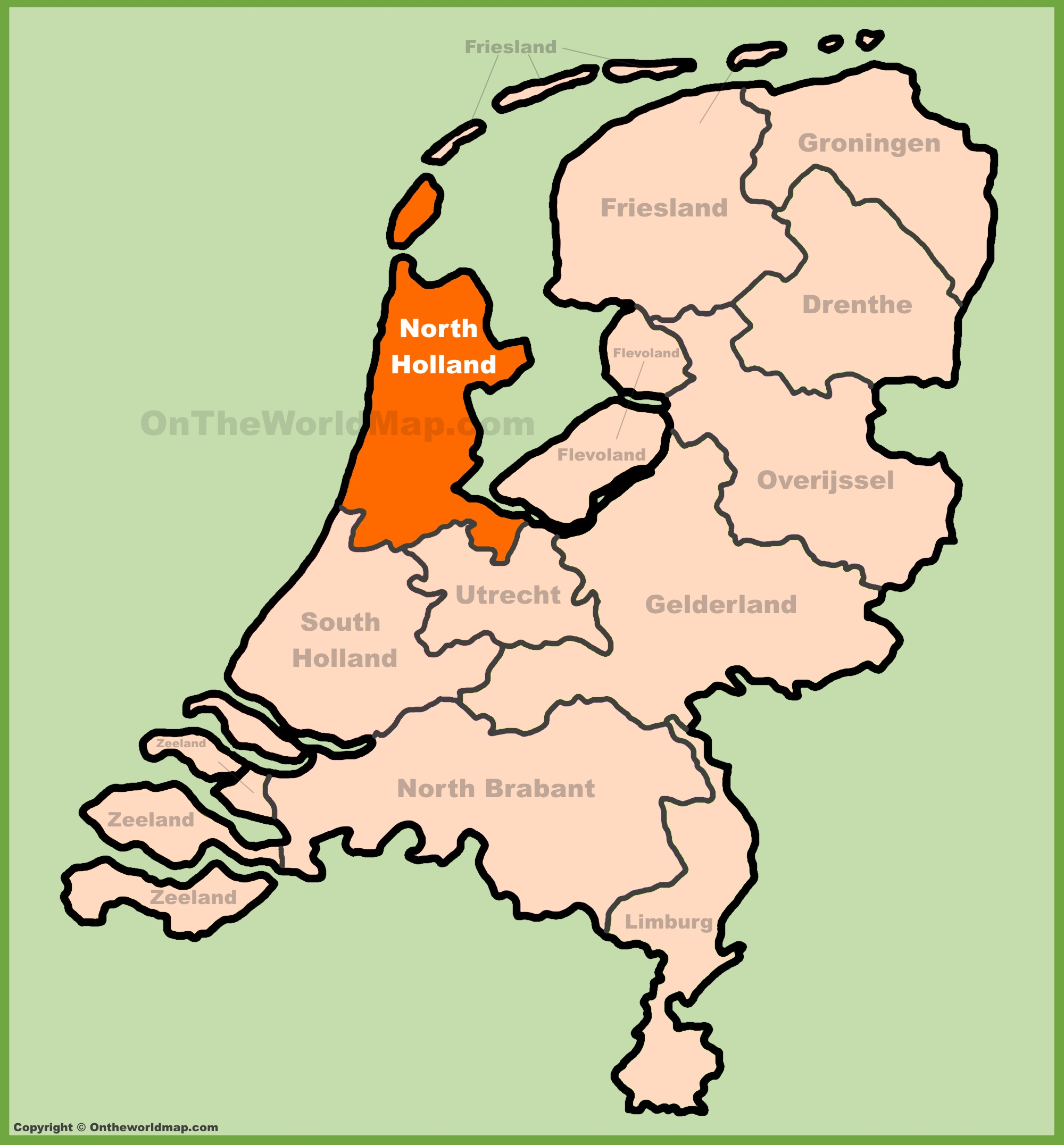 North Holland location on the Netherlands map