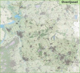 Large detailed topographic map of Overijssel