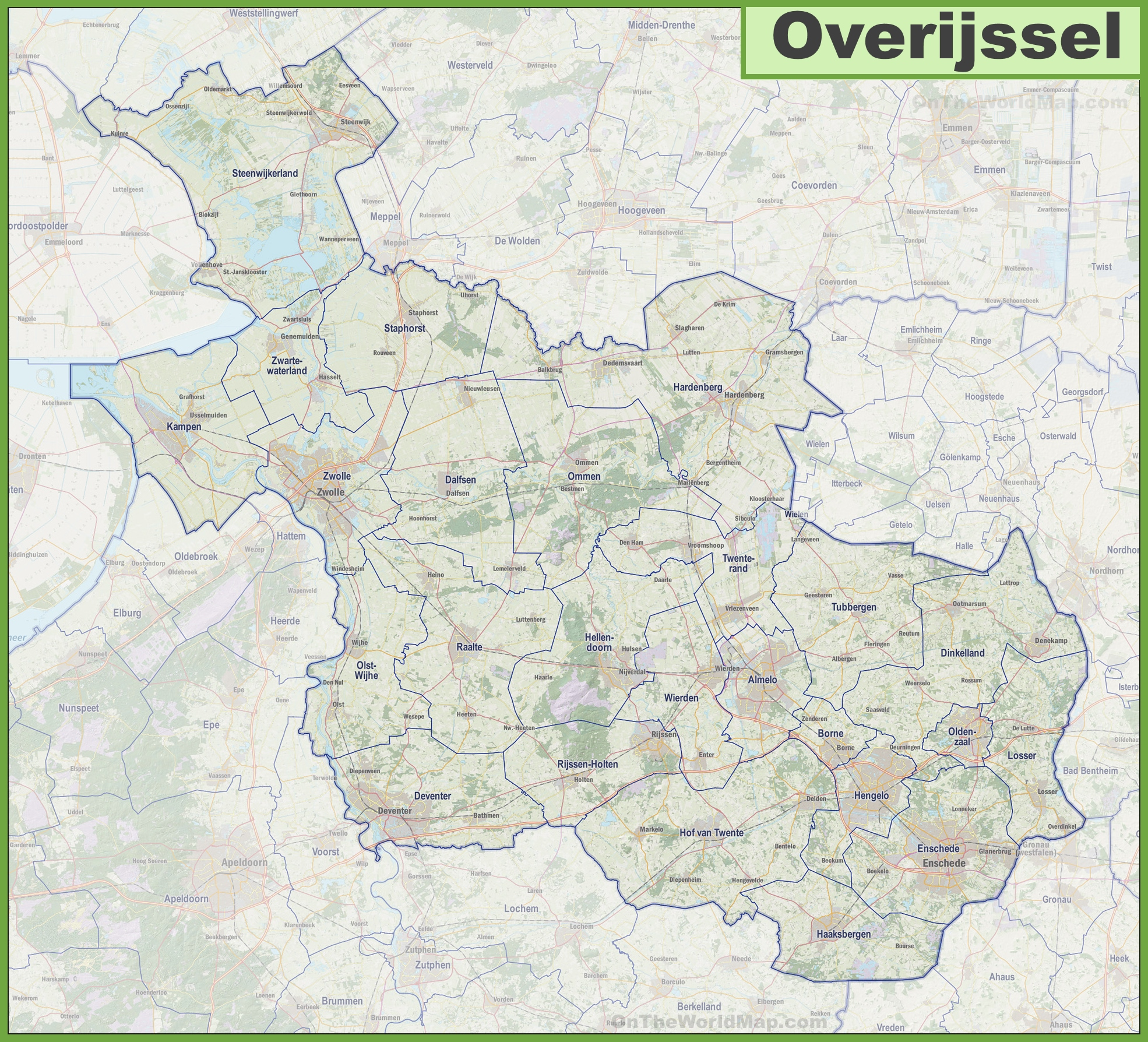 Map of Overijssel with cities and towns