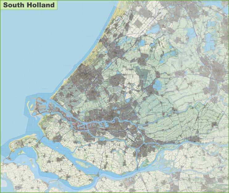 Large detailed topographic map of South Holland
