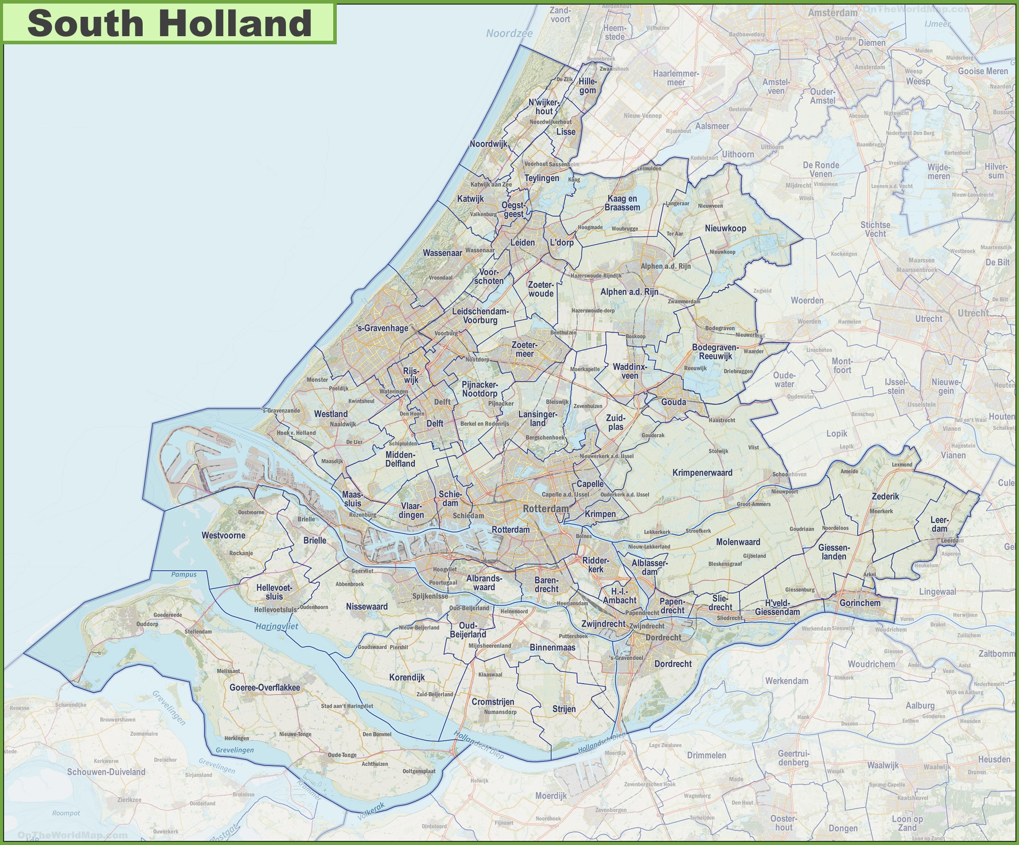 Map of South Holland with cities and towns
