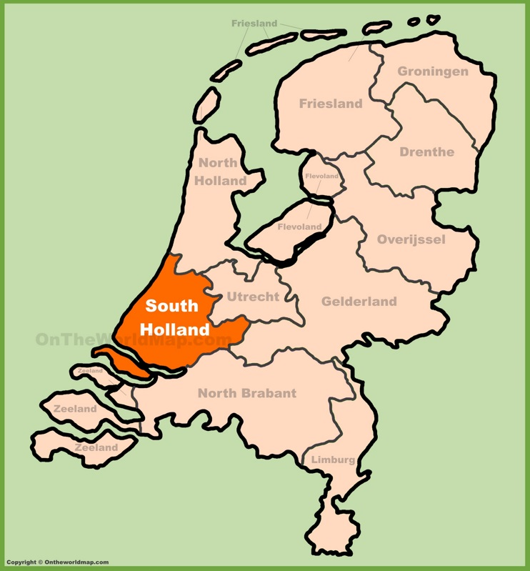South Holland location on the Netherlands map