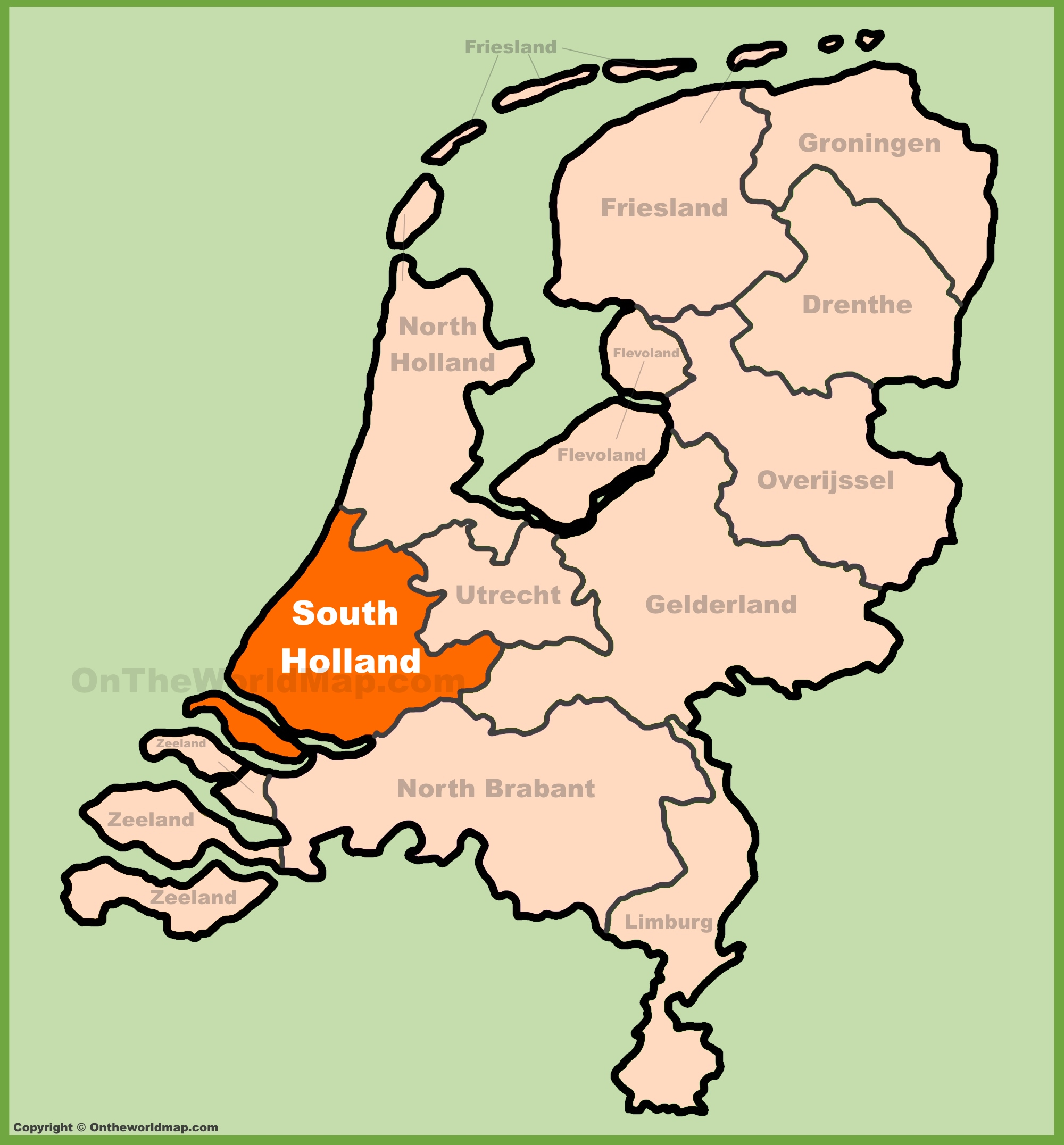 Holland On A Map South Holland location on the Netherlands map Holland On A Map