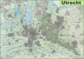 Large detailed topographic map of Utrecht province