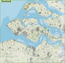 Large detailed topographic map of Zeeland