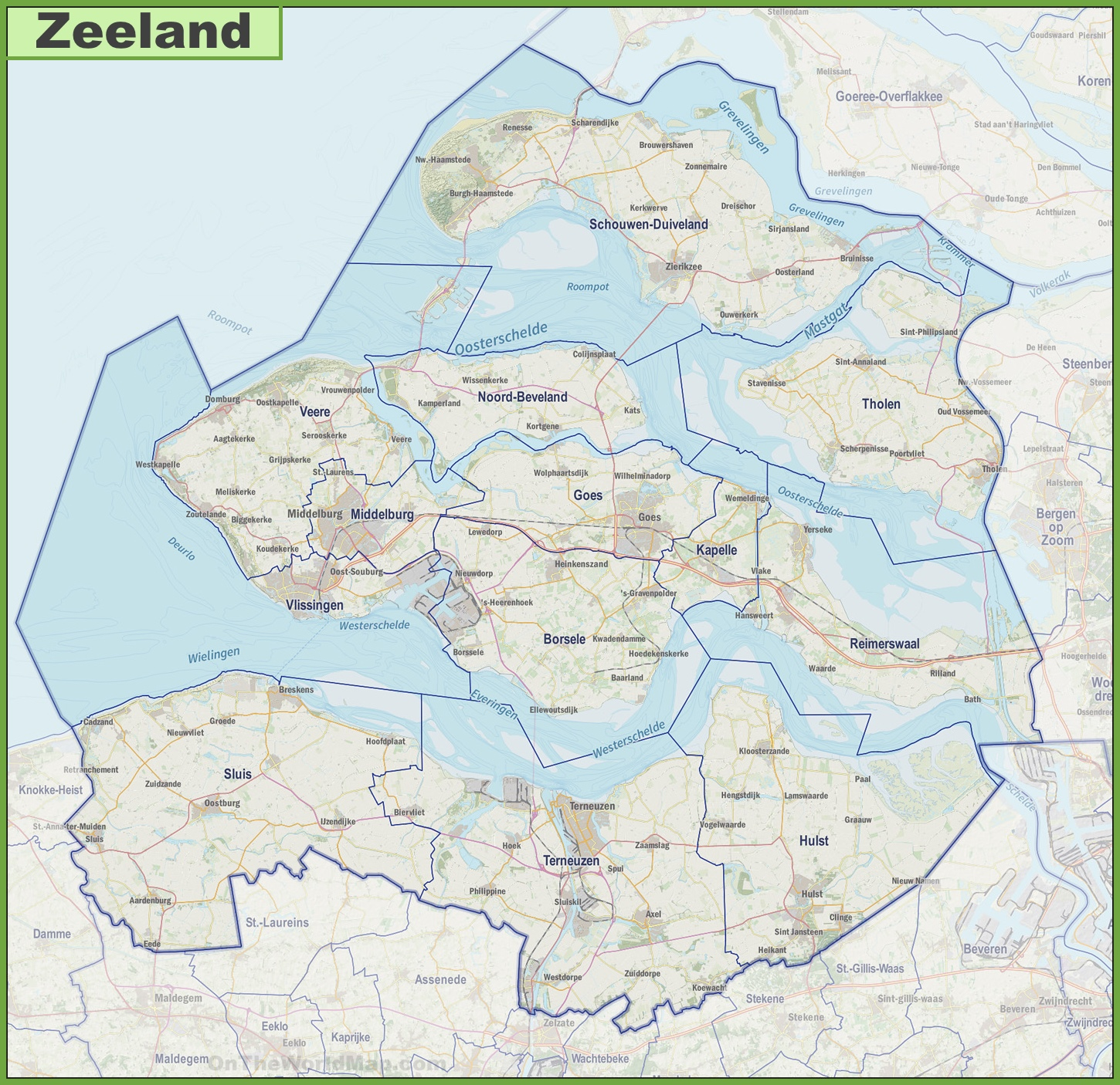 Map of Zeeland with cities and towns