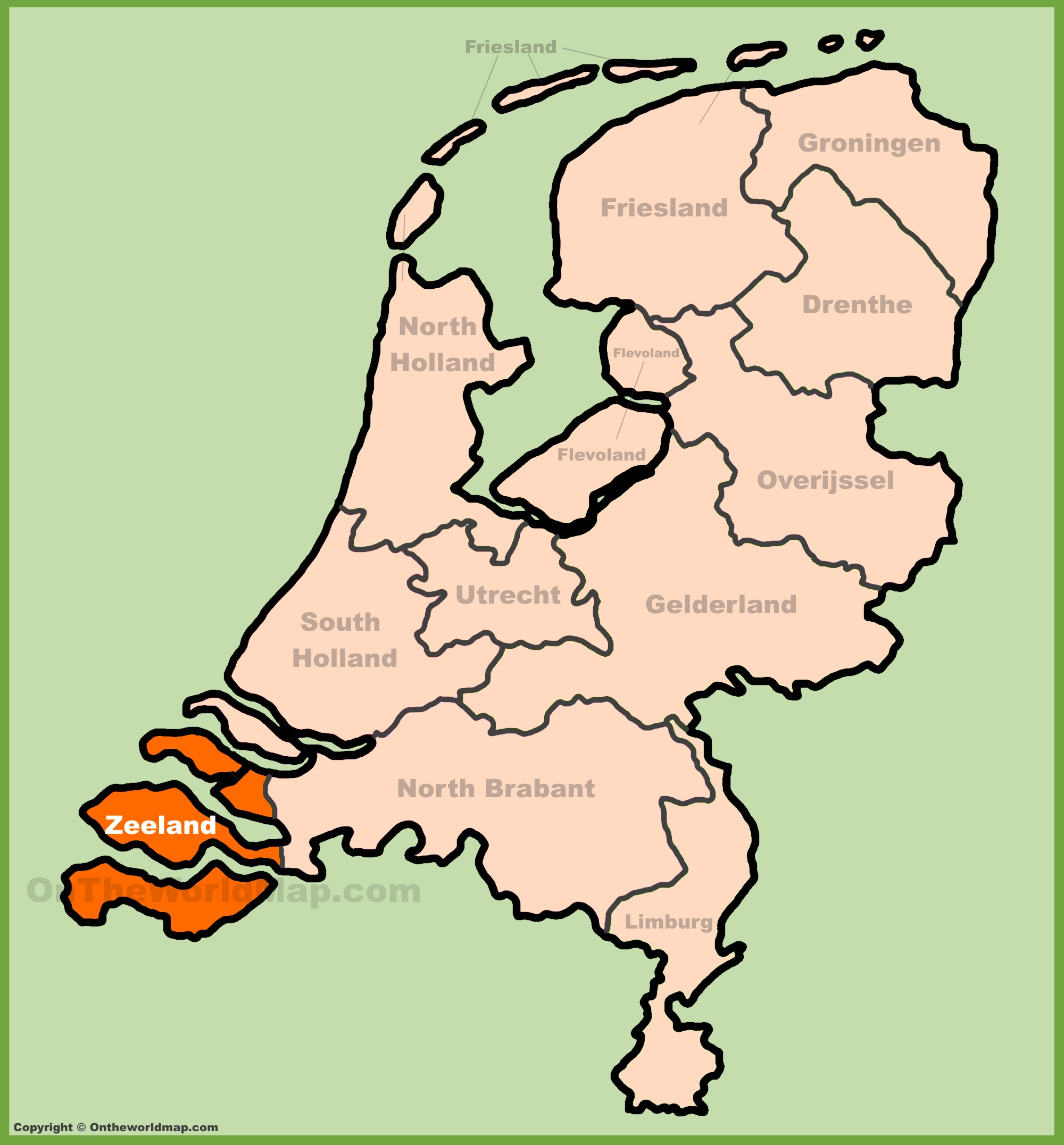 Zeeland location on the Netherlands map