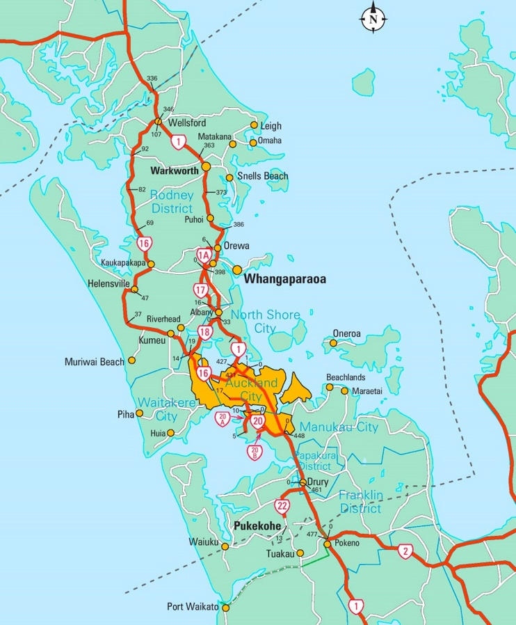 Auckland area map