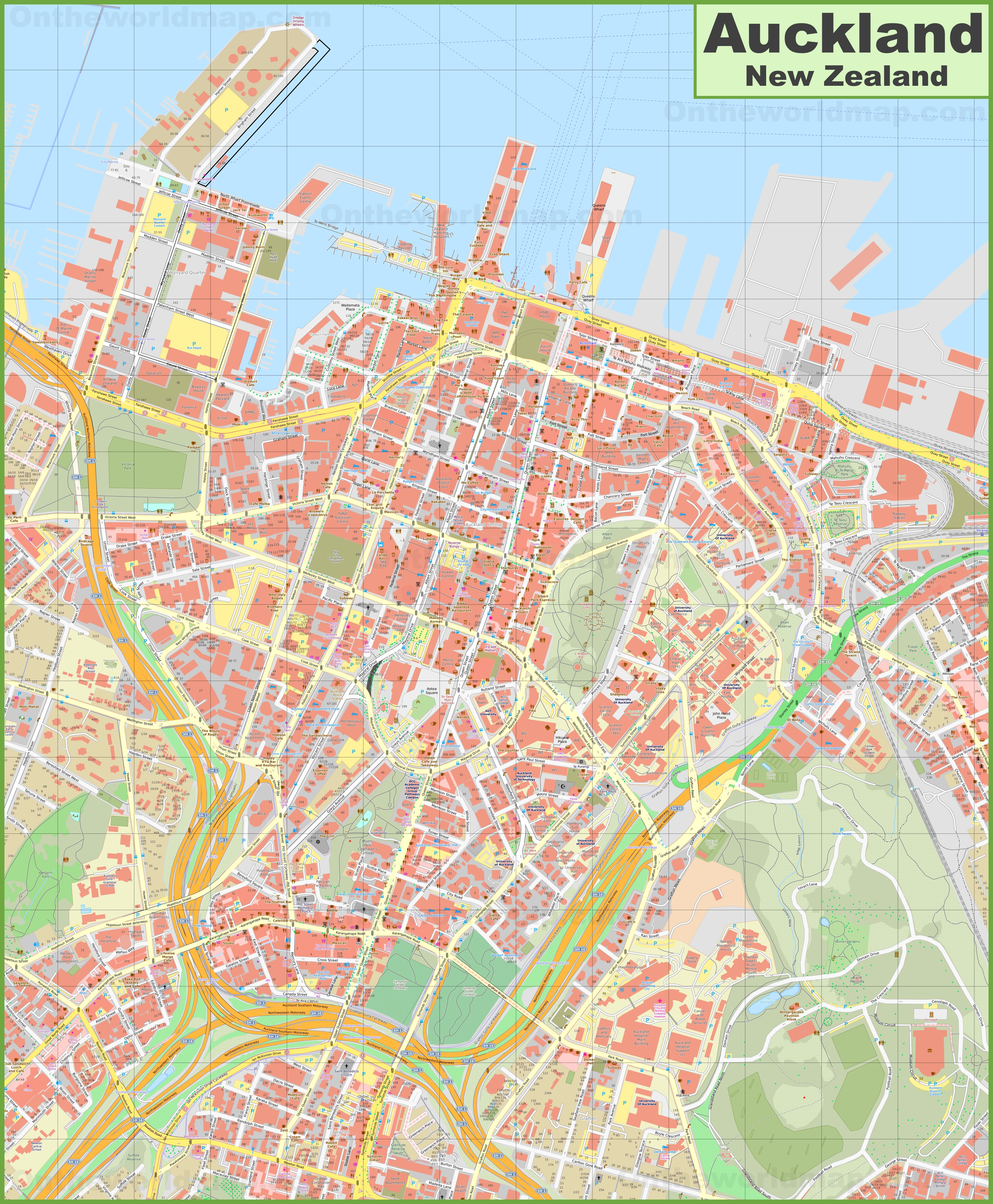 Map Of Auckland New Zealand.Auckland Cbd Map