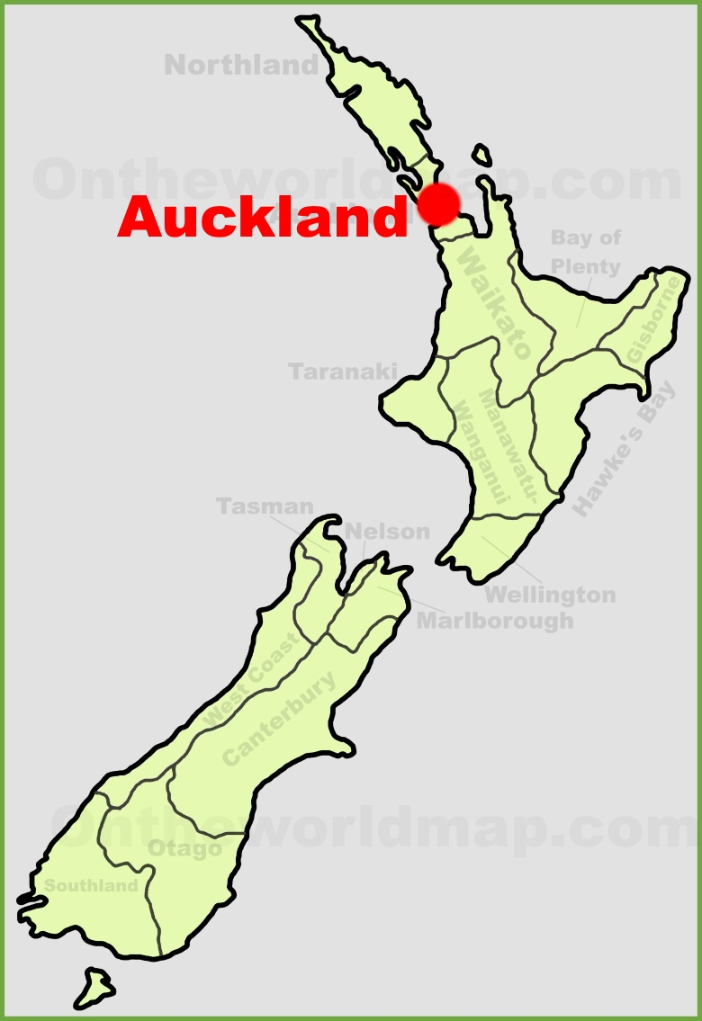Auckland location on the New Zealand Map