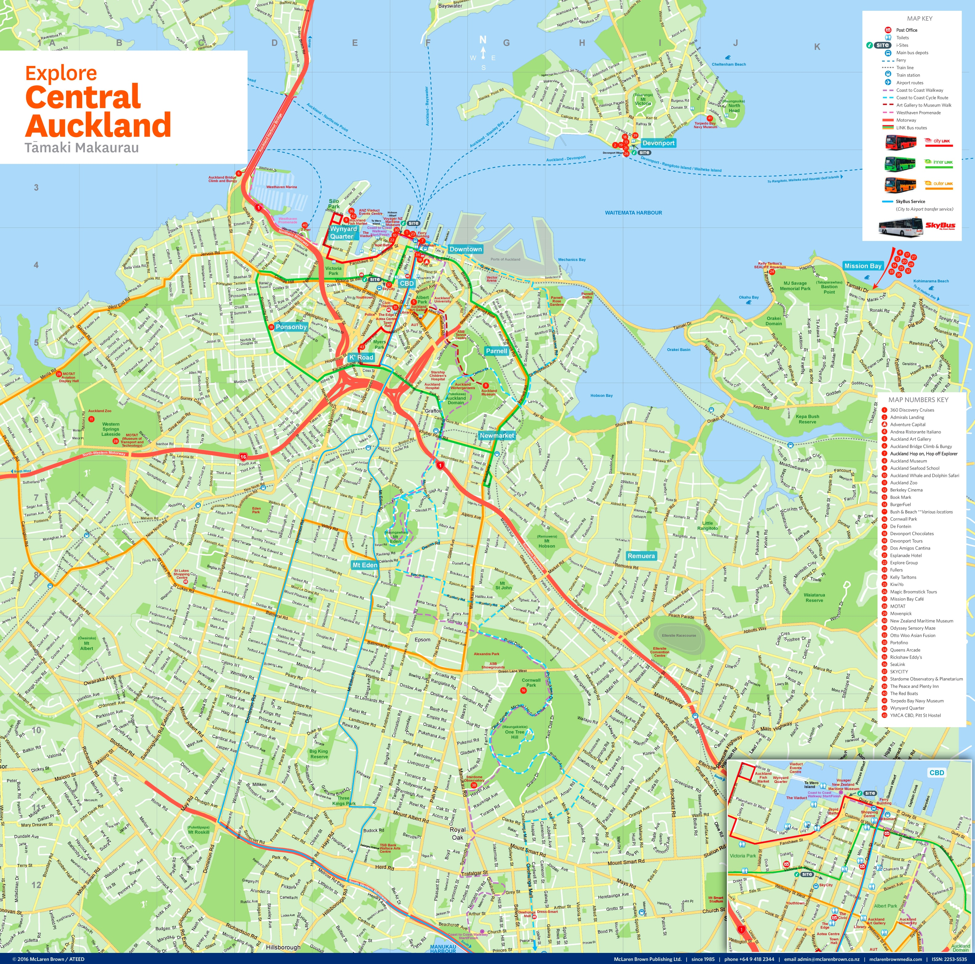 Central Auckland tourist map